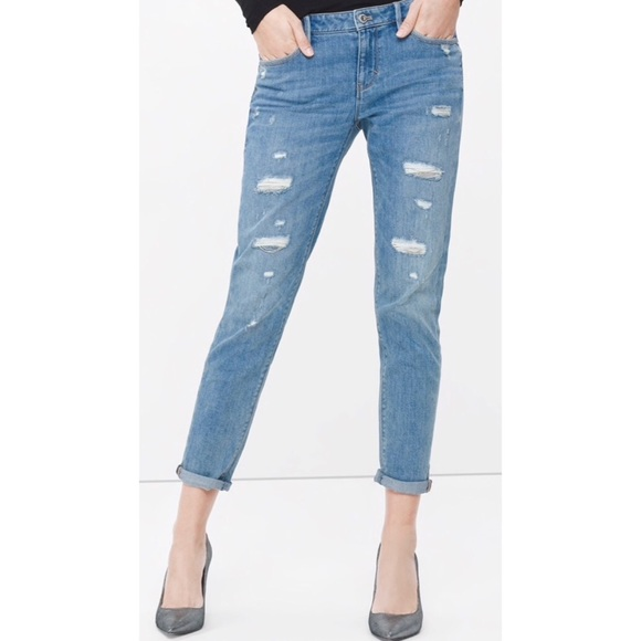 White House Black Market Denim - WHBM THE GIRLFRIEND chain distressed jeans 8